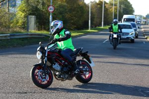 Bradley Ray, Lydd, Buildbase Suzuki, prepares for his Motorbike Road Test at Wheels Motorcycles, Peterborough, Cambridgeshire, UK.